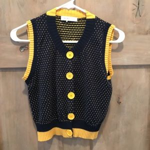 See By Chloe navy & yellow sweater vest w/buttons.
